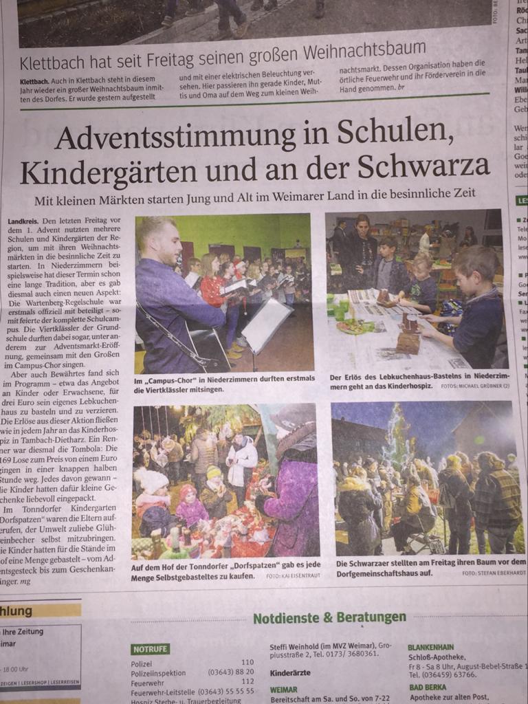 Zeitungsartikel zum Adventsmarkt